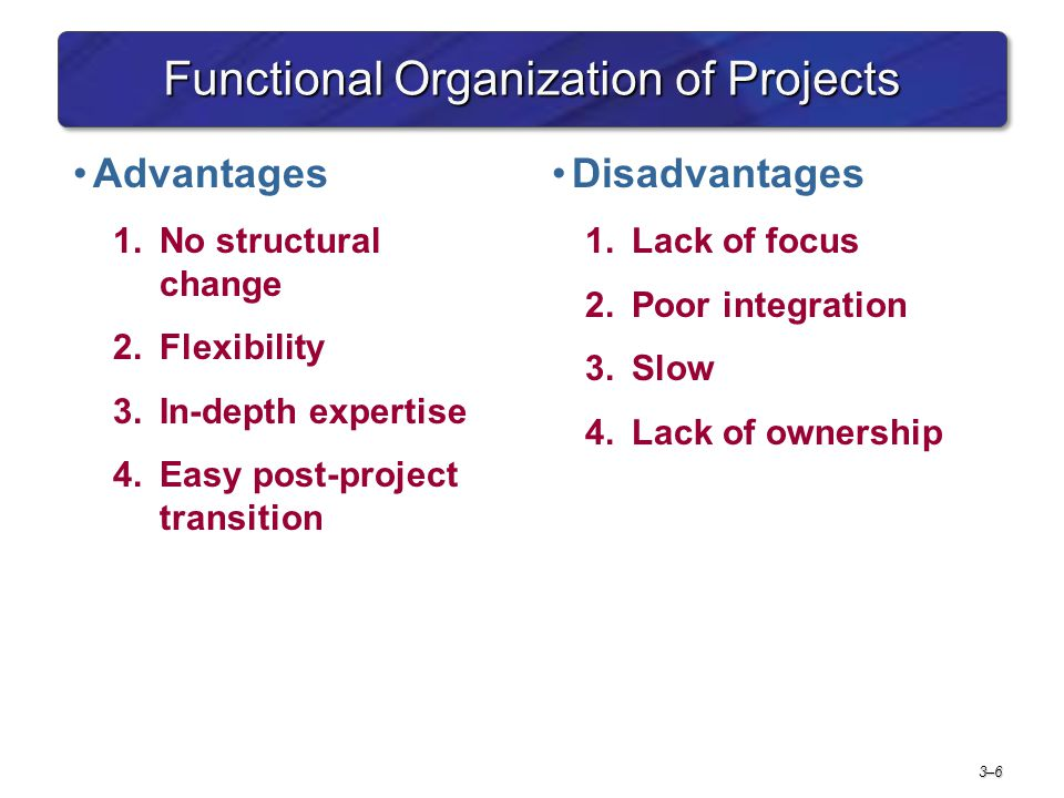 3–63–6 Functional Organization of Projects Advantages 1.No structural change 2.Flexibility 3.In-depth expertise 4.Easy post-project transition Disadvantages 1.Lack of focus 2.Poor integration 3.Slow 4.Lack of ownership