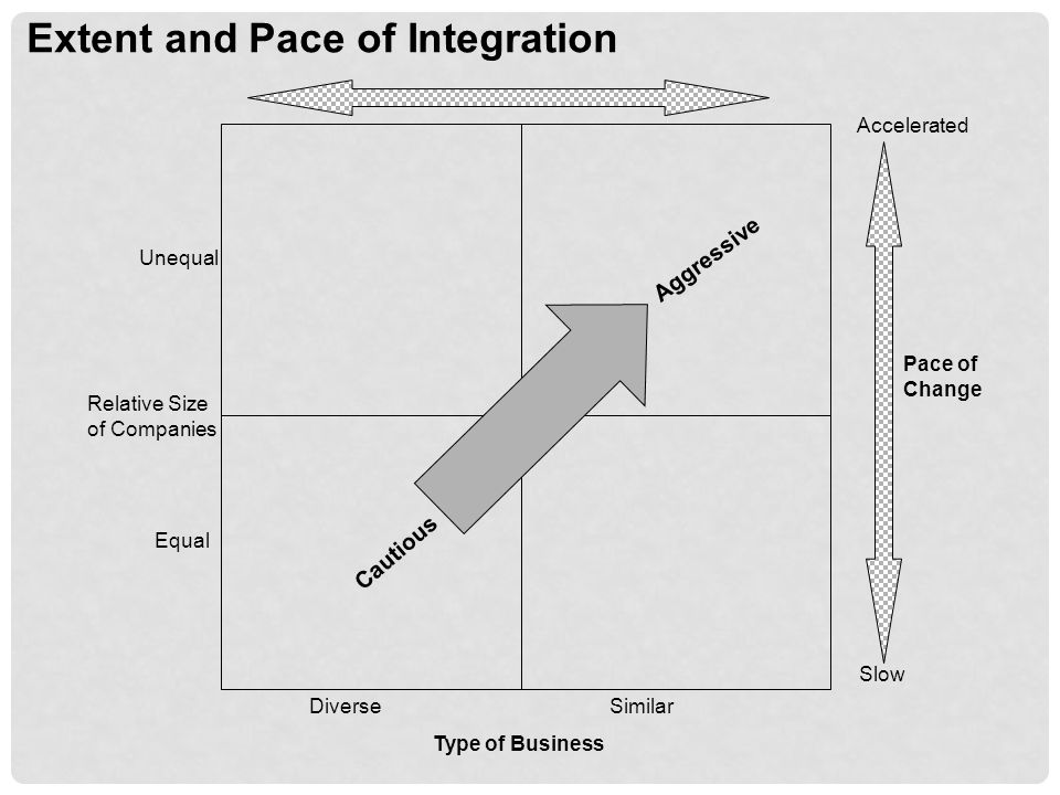 Extent and Pace of Integration Accelerated Slow Pace of Change Type of Business DiverseSimilar Cautious Aggressive Equal Unequal Relative Size of Companies