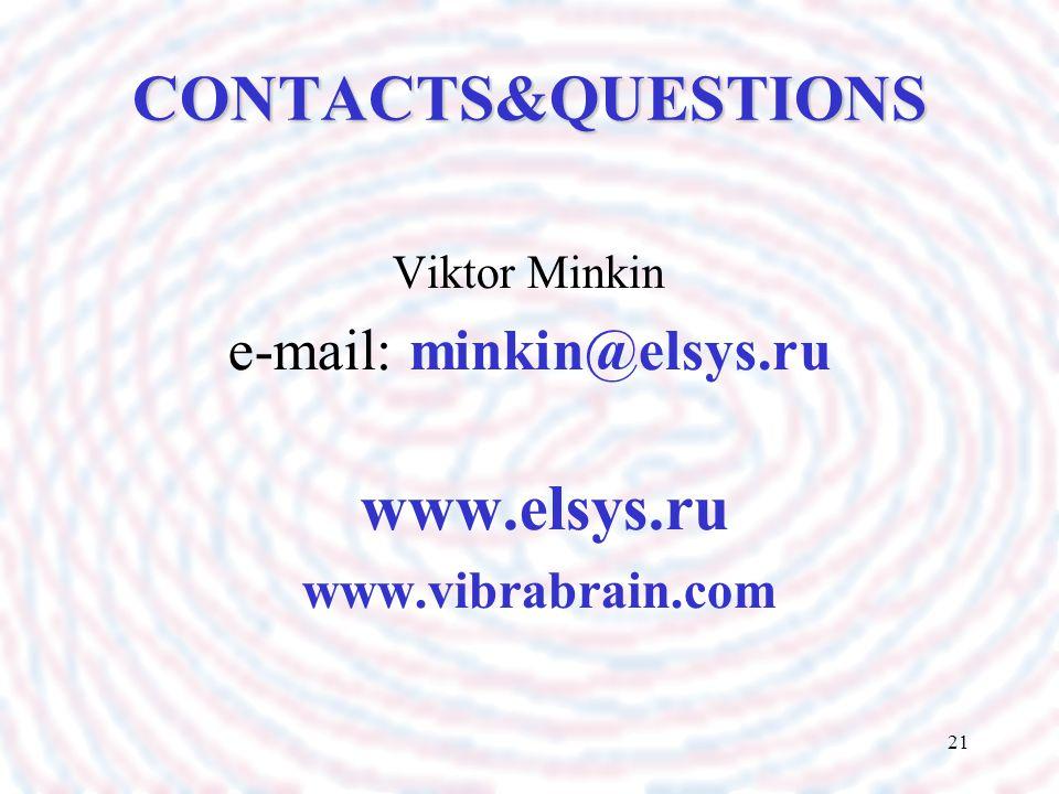 21 CONTACTS&QUESTIONS Viktor Minkin e-mail: minkin@elsys.ru www.elsys.ru www.vibrabrain.com