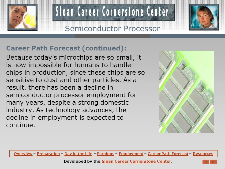 Career Path Forecast: Employment of semiconductor processors is projected to decline by 32 percent between 2008 and 2018.