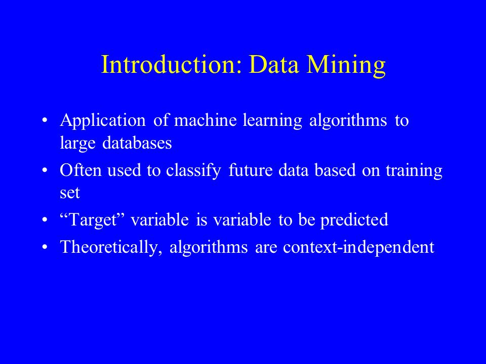 Introduction: Stacked Generalization Method for combining models Part of training set used to train level-0, or base, models as usual Level-1 data built from predictions of level-0 models on remainder of set Level-1 Generalizers are models trained on level-1 data
