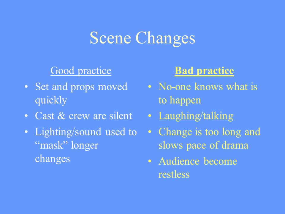 Scene Changes Good practice Set and props moved quickly Cast & crew are silent Lighting/sound used to mask longer changes Bad practice No-one knows what is to happen Laughing/talking Change is too long and slows pace of drama Audience become restless