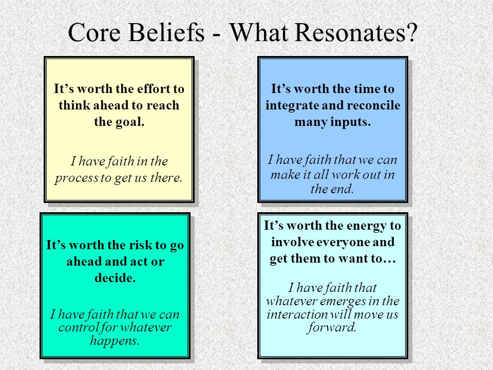 Core Beliefs - What Resonates. It's worth the effort to think ahead to reach the goal.