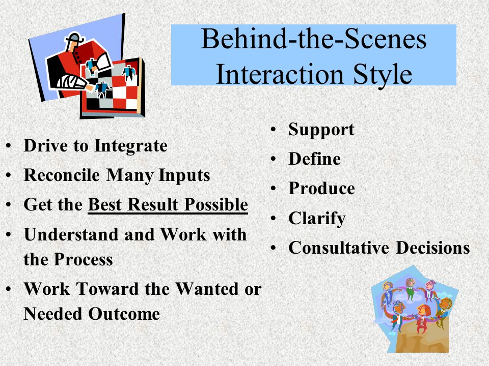Behind-the-Scenes Interaction Style Drive to Integrate Reconcile Many Inputs Get the Best Result Possible Understand and Work with the Process Work Toward the Wanted or Needed Outcome Support Define Produce Clarify Consultative Decisions
