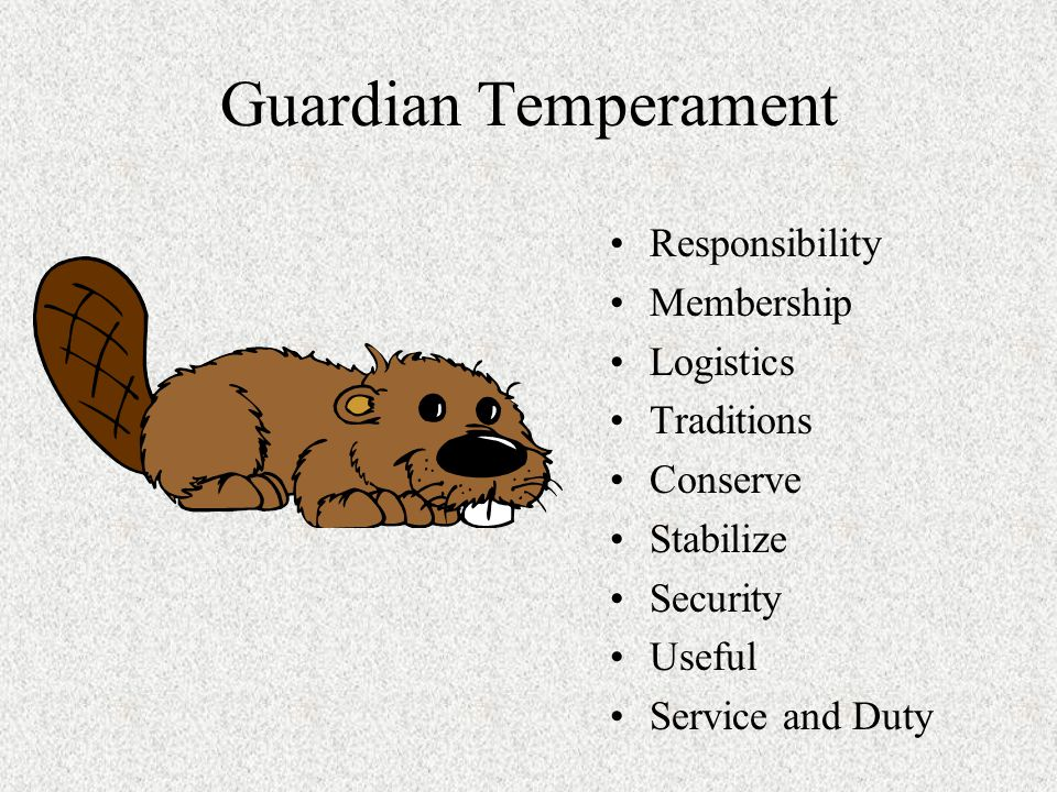 Guardian Temperament Responsibility Membership Logistics Traditions Conserve Stabilize Security Useful Service and Duty