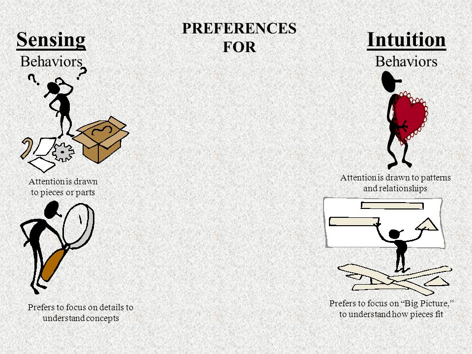 PREFERENCES FOR Sensing Behaviors Intuition Behaviors Attention is drawn to pieces or parts Attention is drawn to patterns and relationships Prefers to focus on details to understand concepts Prefers to focus on Big Picture, to understand how pieces fit