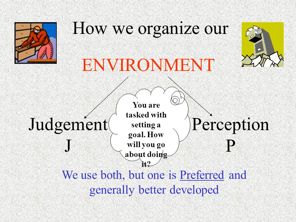 How we organize our ENVIRONMENT Judgement J Perception P We use both, but one is Preferred and generally better developed You are tasked with setting a goal.
