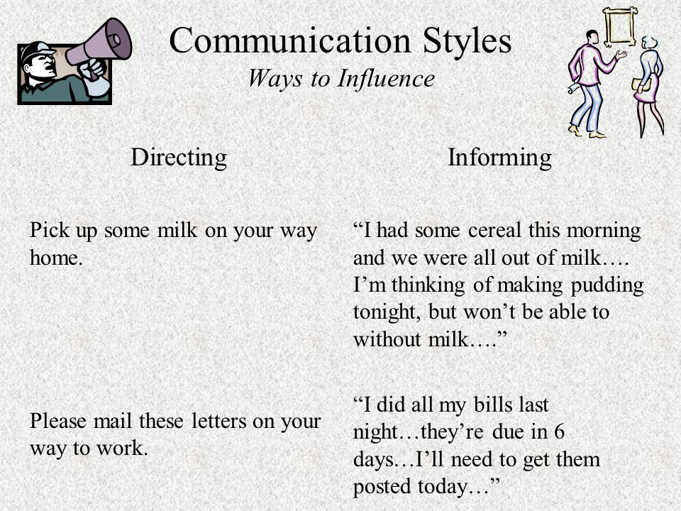 Communication Styles Ways to Influence Directing Pick up some milk on your way home.