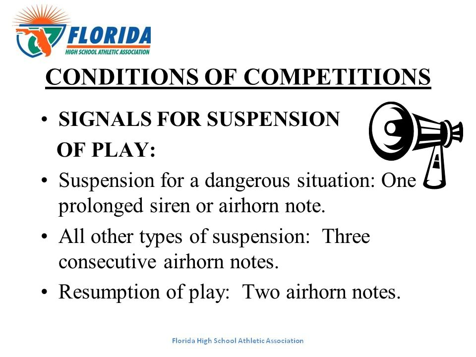 CONDITIONS OF COMPETITIONS SIGNALS FOR SUSPENSION OF PLAY: Suspension for a dangerous situation: One prolonged siren or airhorn note. All other types