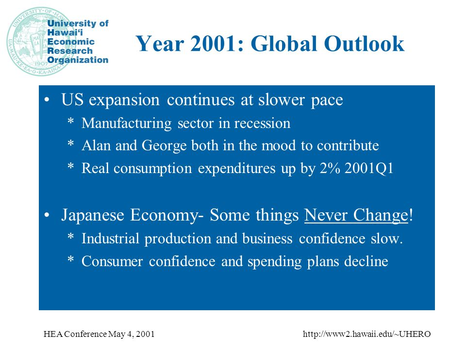 HEA Conference May 4, 2001http://www2.hawaii.edu/~UHERO Year 2001: Global Outlook US expansion continues at slower pace *Manufacturing sector in recession *Alan and George both in the mood to contribute *Real consumption expenditures up by 2% 2001Q1 Japanese Economy- Some things Never Change.