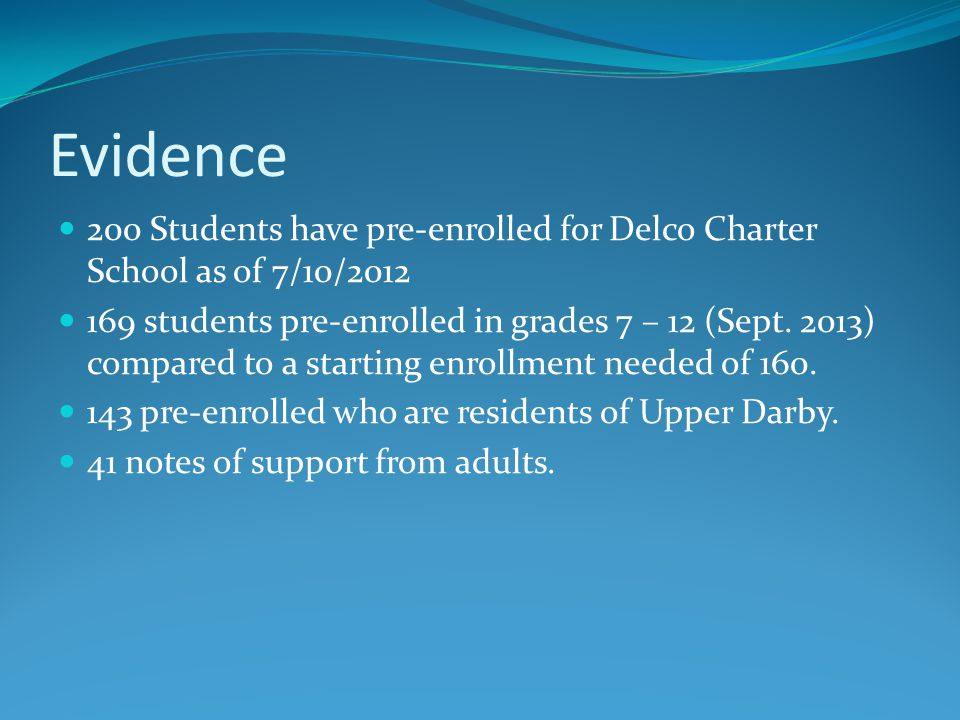 Evidence 200 Students have pre-enrolled for Delco Charter School as of 7/10/2012 169 students pre-enrolled in grades 7 – 12 (Sept.