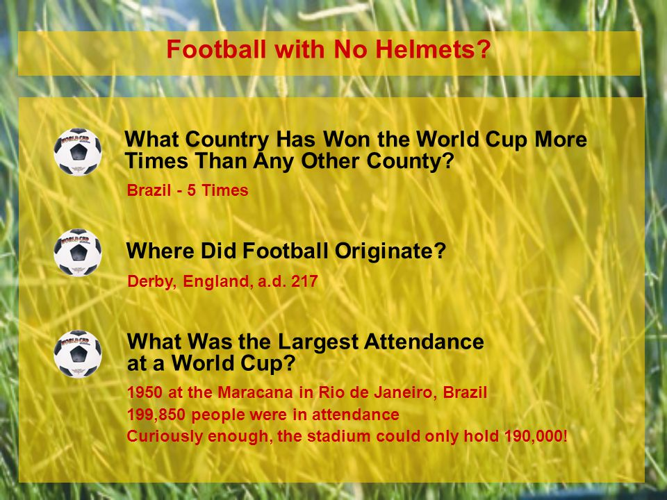 Football with No Helmets. What Country Has Won the World Cup More Times Than Any Other County.