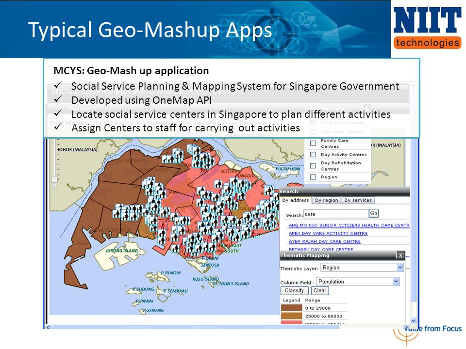 Typical Geo-Mashup Apps MCYS: Geo-Mash up application Social Service Planning & Mapping System for Singapore Government Developed using OneMap API Loc