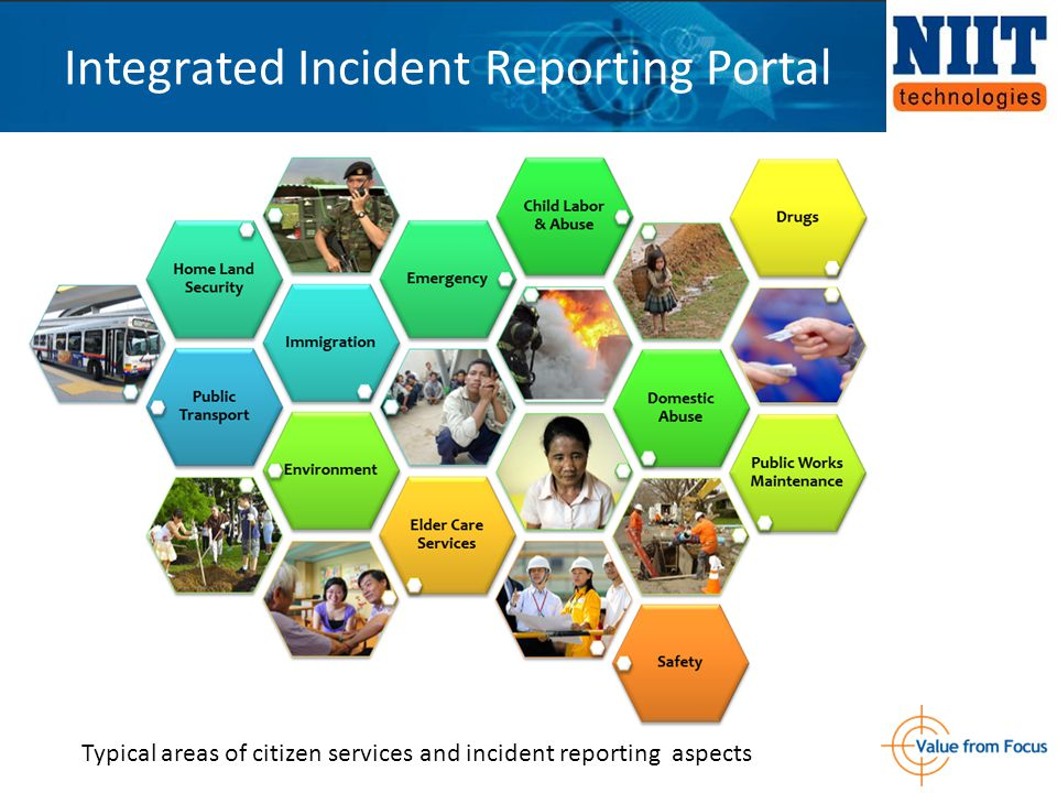 Integrated Incident Reporting Portal Typical areas of citizen services and incident reporting aspects