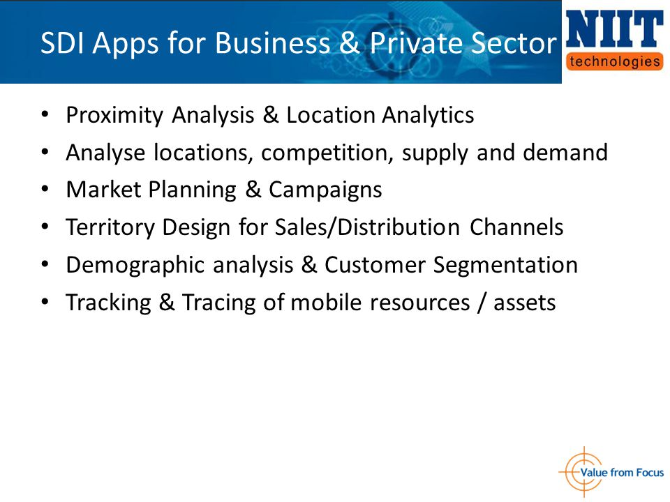 Proximity Analysis & Location Analytics Analyse locations, competition, supply and demand Market Planning & Campaigns Territory Design for Sales/Distr