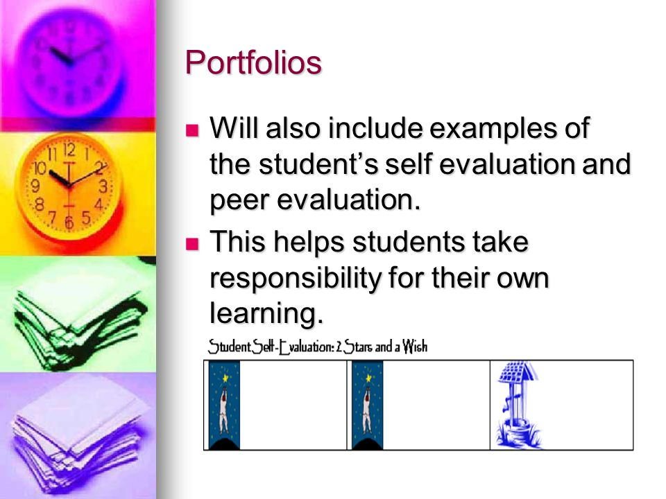 Portfolios Will also include examples of the student's self evaluation and peer evaluation.