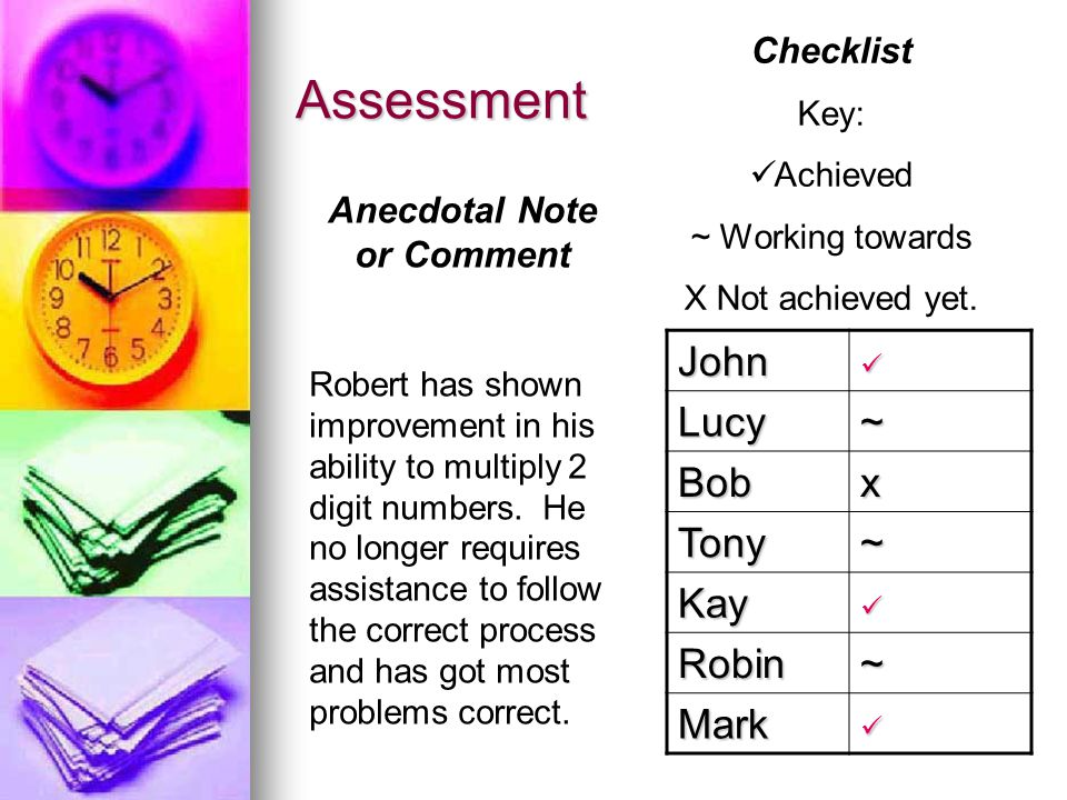 Assessment John Lucy~ Bobx Tony~ Kay Robin~ Mark Checklist Key: Achieved ~ Working towards X Not achieved yet.