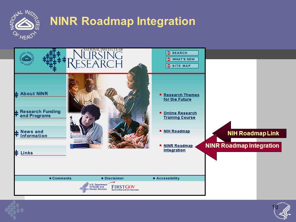 16 NINR Roadmap Integration NIH Roadmap Link NINR Roadmap Integration