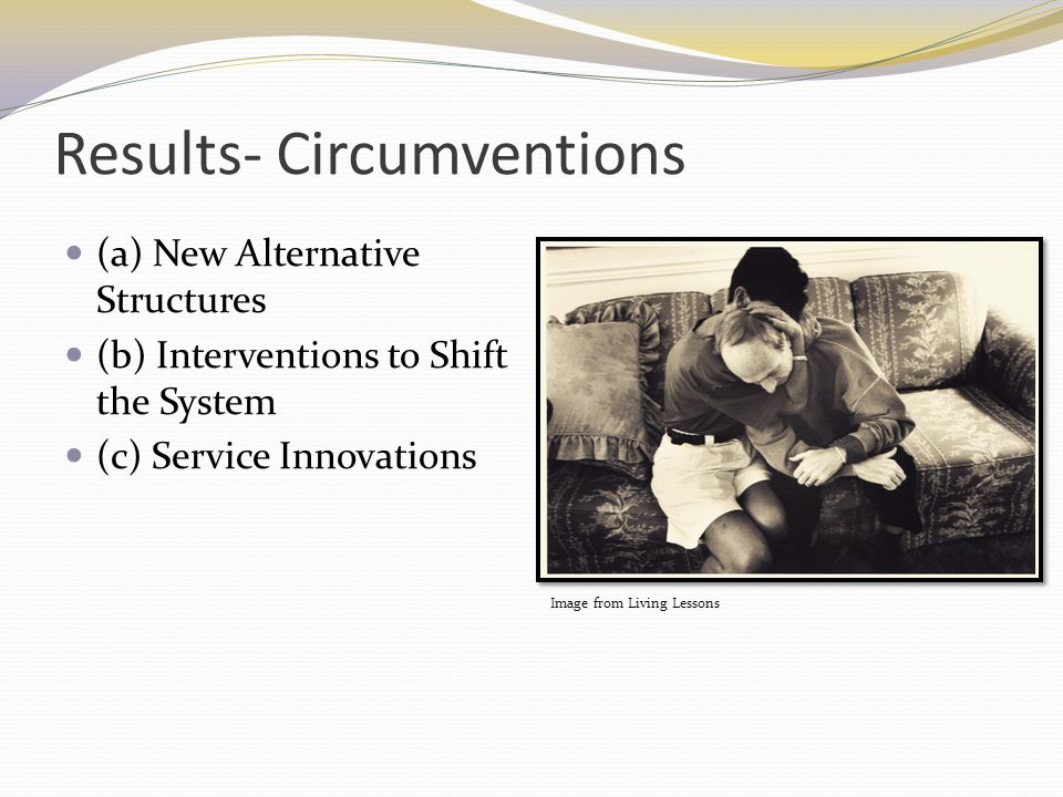 Results- Circumventions (a) New Alternative Structures (b) Interventions to Shift the System (c) Service Innovations Image from Living Lessons