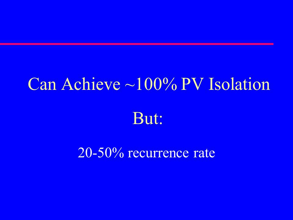 Can Achieve ~100% PV Isolation 20-50% recurrence rate But: