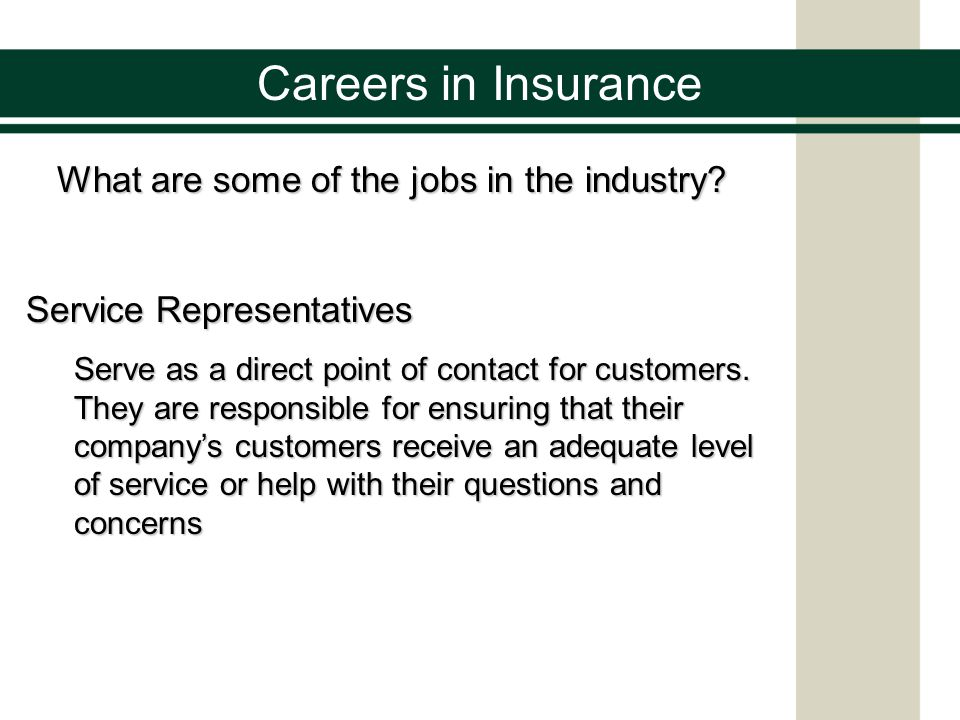 Careers in Insurance Types of Industry Organizations Insurance Companies Provide insurance coverage for consumers and organizations Brokerages or Agencies The intermediary between insurance companies and consumers or organizations