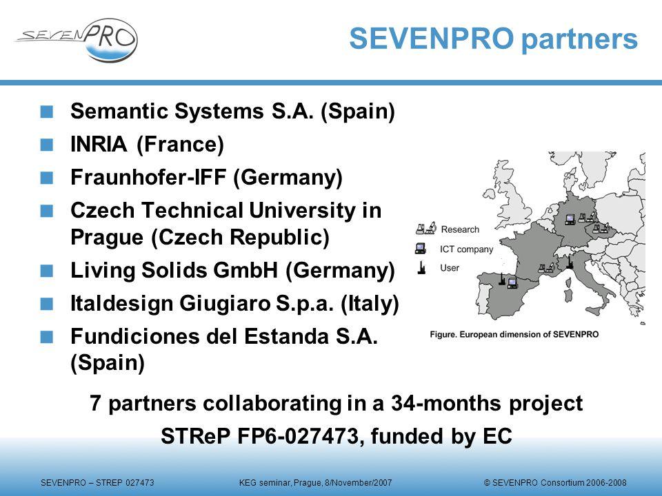SEVENPRO – STREP 027473 KEG seminar, Prague, 8/November/2007 © SEVENPRO Consortium 2006-2008 SEVENPRO partners  Semantic Systems S.A.