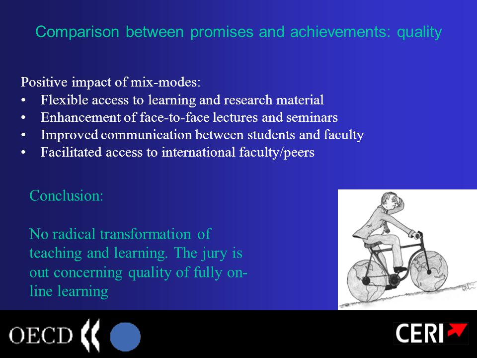 Positive impact of mix-modes: Flexible access to learning and research material Enhancement of face-to-face lectures and seminars Improved communicati