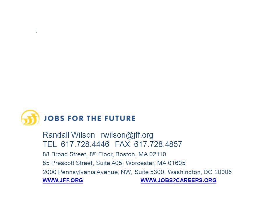 : Randall Wilson rwilson@jff.org TEL 617.728.4446 FAX 617.728.4857 88 Broad Street, 8 th Floor, Boston, MA 02110 85 Prescott Street, Suite 405, Worcester, MA 01605 2000 Pennsylvania Avenue, NW, Suite 5300, Washington, DC 20006 WWW.JFF.ORGWWW.JOBS2CAREERS.ORG