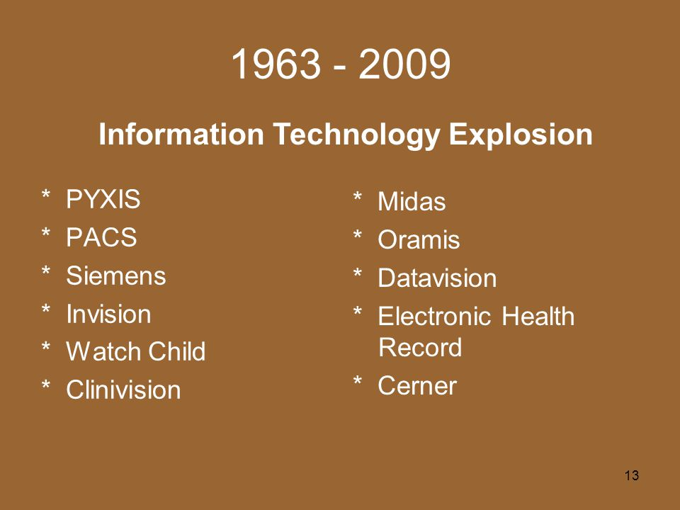 13 1963 - 2009 * PYXIS * PACS * Siemens * Invision * Watch Child * Clinivision Information Technology Explosion * Midas * Oramis * Datavision * Electronic Health Record * Cerner
