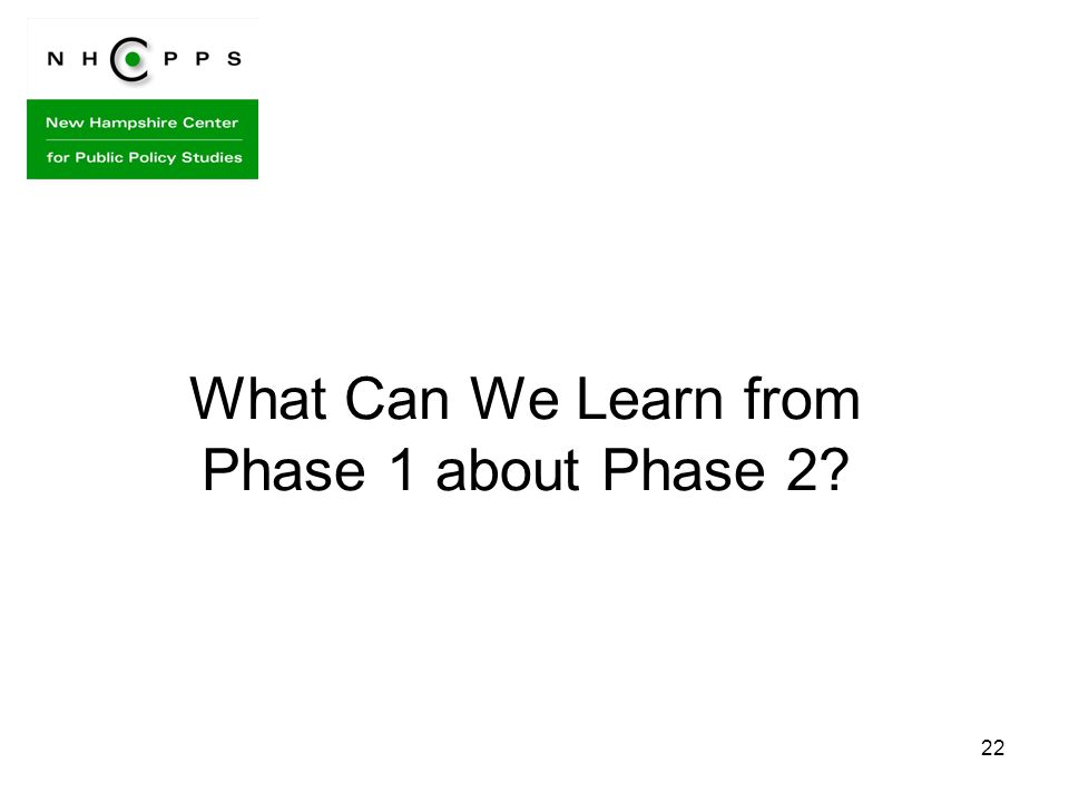 22 What Can We Learn from Phase 1 about Phase 2