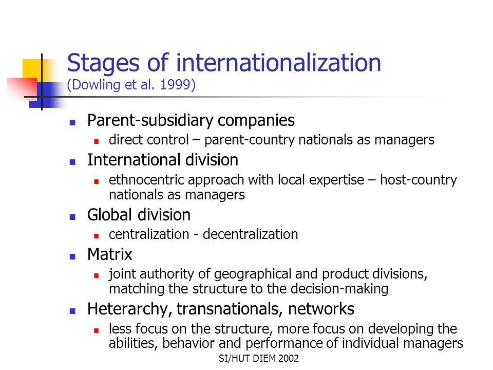 SI/HUT DIEM 2002 Stages of internationalization (Dowling et al. 1999) Parent-subsidiary companies direct control – parent-country nationals as manager