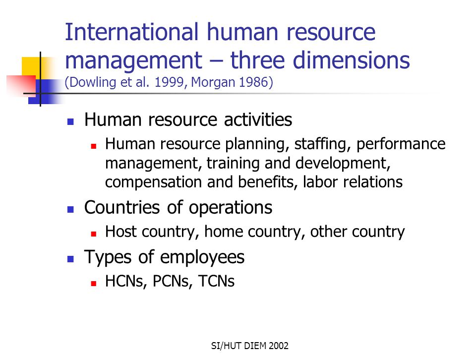 SI/HUT DIEM 2002 International human resource management – three dimensions (Dowling et al. 1999, Morgan 1986) Human resource activities Human resourc