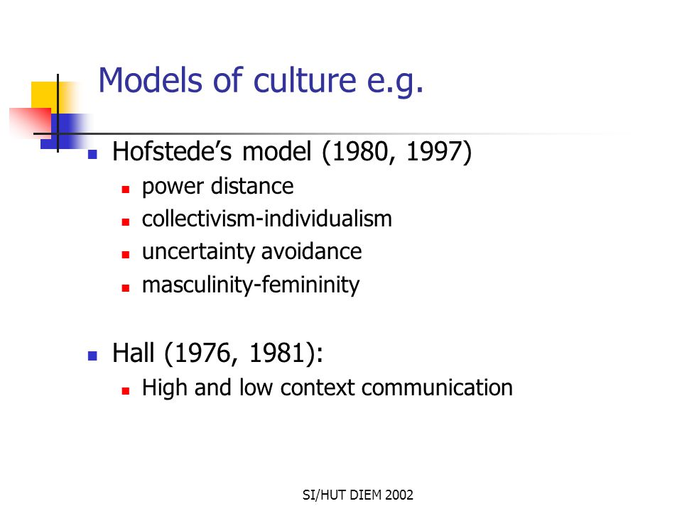 SI/HUT DIEM 2002 Models of culture e.g. Hofstede's model (1980, 1997) power distance collectivism-individualism uncertainty avoidance masculinity-femi