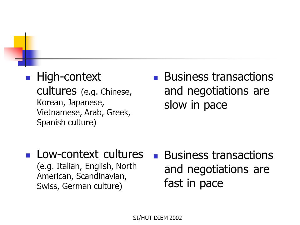 SI/HUT DIEM 2002 High-context cultures (e.g. Chinese, Korean, Japanese, Vietnamese, Arab, Greek, Spanish culture) Low-context cultures (e.g. Italian,