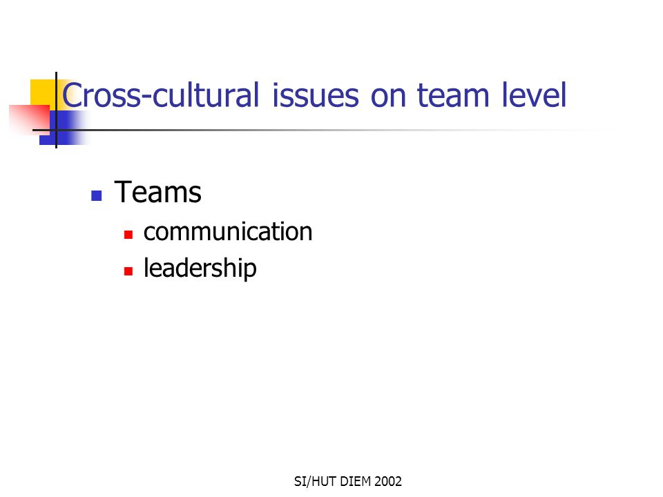 SI/HUT DIEM 2002 Cross-cultural issues on team level Teams communication leadership
