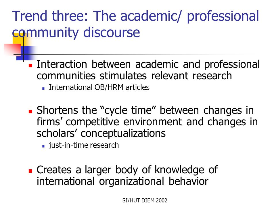 SI/HUT DIEM 2002 Trend three: The academic/ professional community discourse Interaction between academic and professional communities stimulates rele