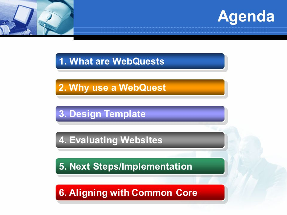 Agenda 1. What are WebQuests 2. Why use a WebQuest 3. Design Template 4. Evaluating Websites 5. Next Steps/Implementation 6. Aligning with Common Core