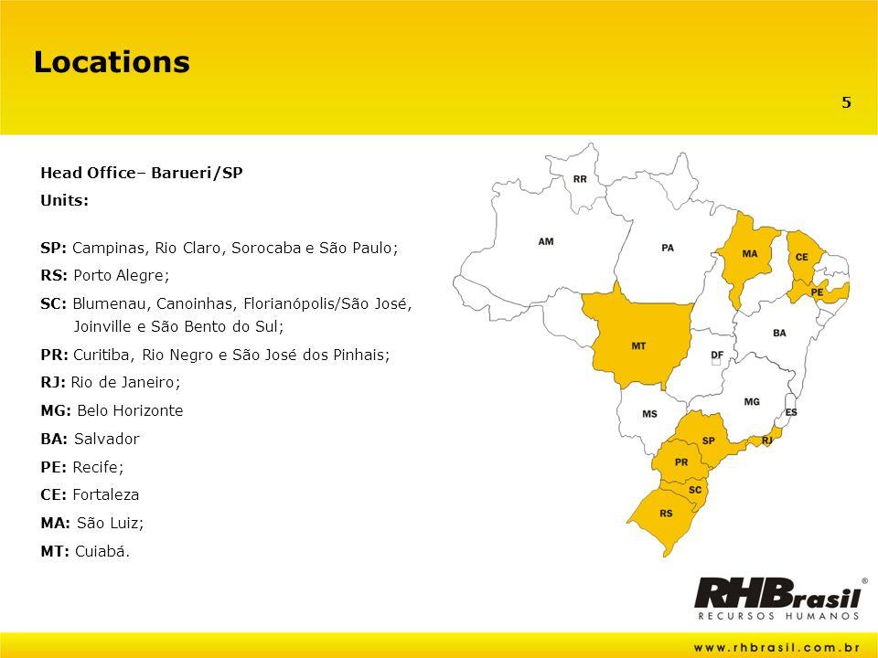 5 Locations Head Office– Barueri/SP Units: SP: Campinas, Rio Claro, Sorocaba e São Paulo; RS: Porto Alegre; SC: Blumenau, Canoinhas, Florianópolis/São