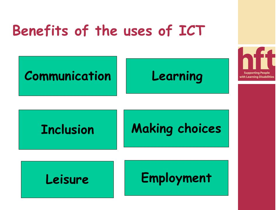 Benefits of the uses of ICT Communication Making choices Inclusion Learning Leisure Employment