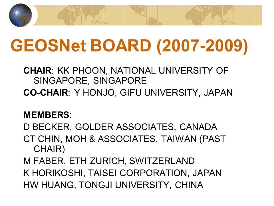 GEOSNet BOARD (2007-2009) CHAIR: KK PHOON, NATIONAL UNIVERSITY OF SINGAPORE, SINGAPORE CO-CHAIR: Y HONJO, GIFU UNIVERSITY, JAPAN MEMBERS: D BECKER, GOLDER ASSOCIATES, CANADA CT CHIN, MOH & ASSOCIATES, TAIWAN (PAST CHAIR) M FABER, ETH ZURICH, SWITZERLAND K HORIKOSHI, TAISEI CORPORATION, JAPAN HW HUANG, TONGJI UNIVERSITY, CHINA