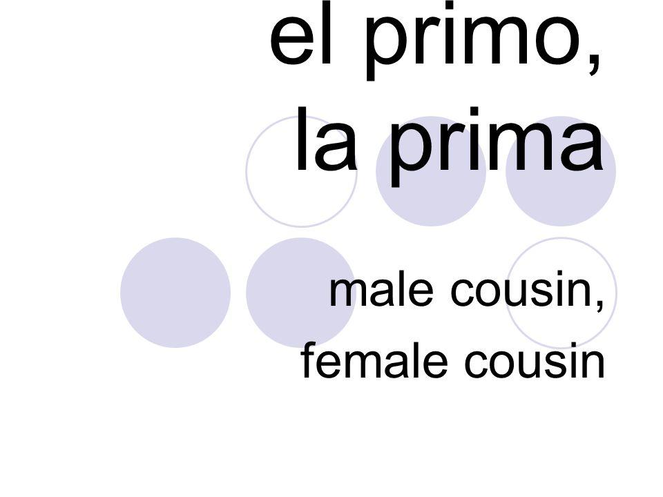 el primo, la prima male cousin, female cousin