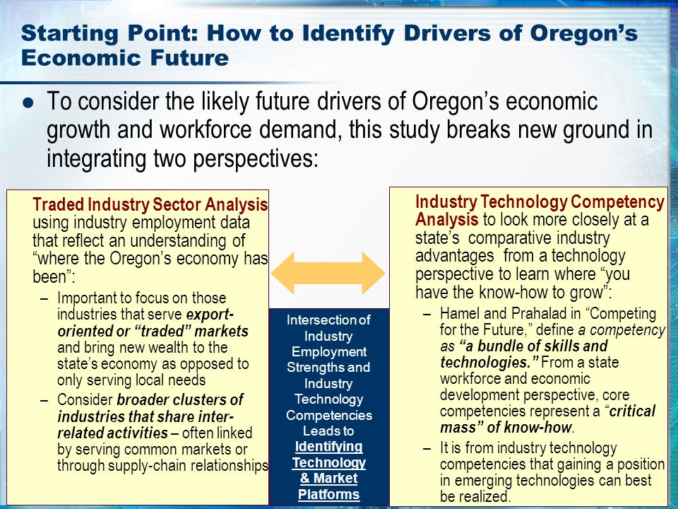 3 Starting Point: How to Identify Drivers of Oregon's Economic Future ● To consider the likely future drivers of Oregon's economic growth and workforc