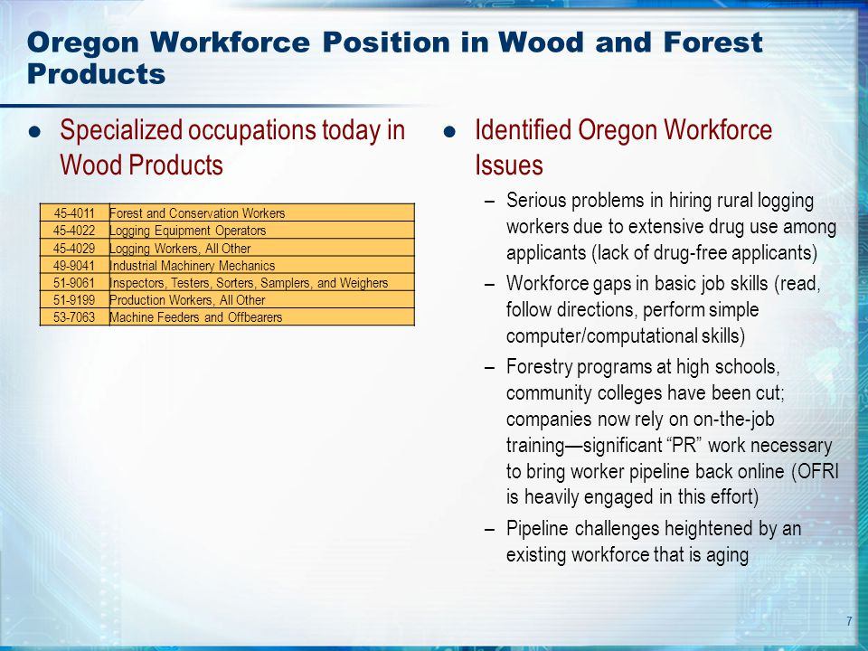 7 Oregon Workforce Position in Wood and Forest Products ● Specialized occupations today in Wood Products ● Identified Oregon Workforce Issues –Serious problems in hiring rural logging workers due to extensive drug use among applicants (lack of drug-free applicants) –Workforce gaps in basic job skills (read, follow directions, perform simple computer/computational skills) –Forestry programs at high schools, community colleges have been cut; companies now rely on on-the-job training—significant PR work necessary to bring worker pipeline back online (OFRI is heavily engaged in this effort) –Pipeline challenges heightened by an existing workforce that is aging 45-4011Forest and Conservation Workers 45-4022Logging Equipment Operators 45-4029Logging Workers, All Other 49-9041Industrial Machinery Mechanics 51-9061Inspectors, Testers, Sorters, Samplers, and Weighers 51-9199Production Workers, All Other 53-7063Machine Feeders and Offbearers