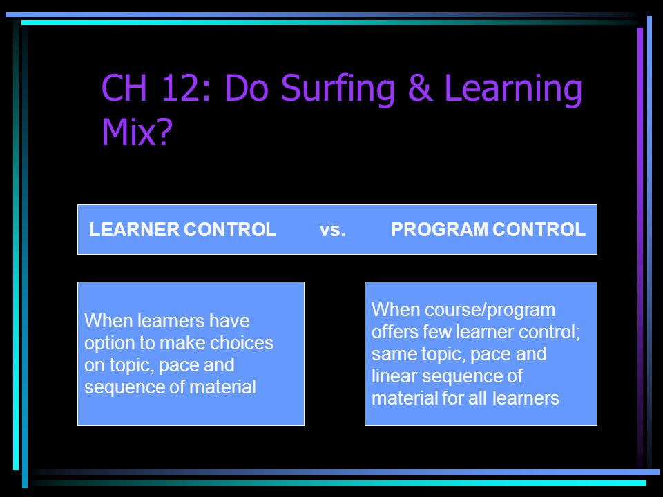 CH 12: Do Surfing & Learning Mix. LEARNER CONTROL vs.