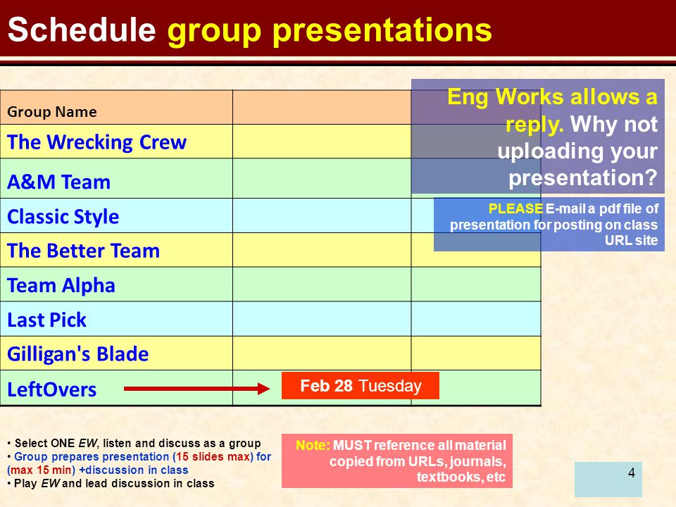 4 Schedule group presentations Select ONE EW, listen and discuss as a group Group prepares presentation (15 slides max) for (max 15 min) +discussion in class Play EW and lead discussion in class Note: MUST reference all material copied from URLs, journals, textbooks, etc Group Name The Wrecking Crew A&M Team Classic Style The Better Team Team Alpha Last Pick Gilligan s Blade LeftOvers Feb 28 Tuesday PLEASE E-mail a pdf file of presentation for posting on class URL site Eng Works allows a reply.