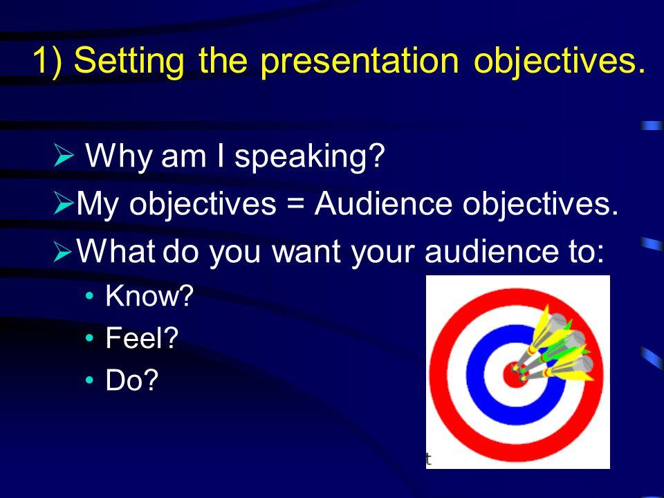 Presentation Preparation 1)Setting the presentation objectives.