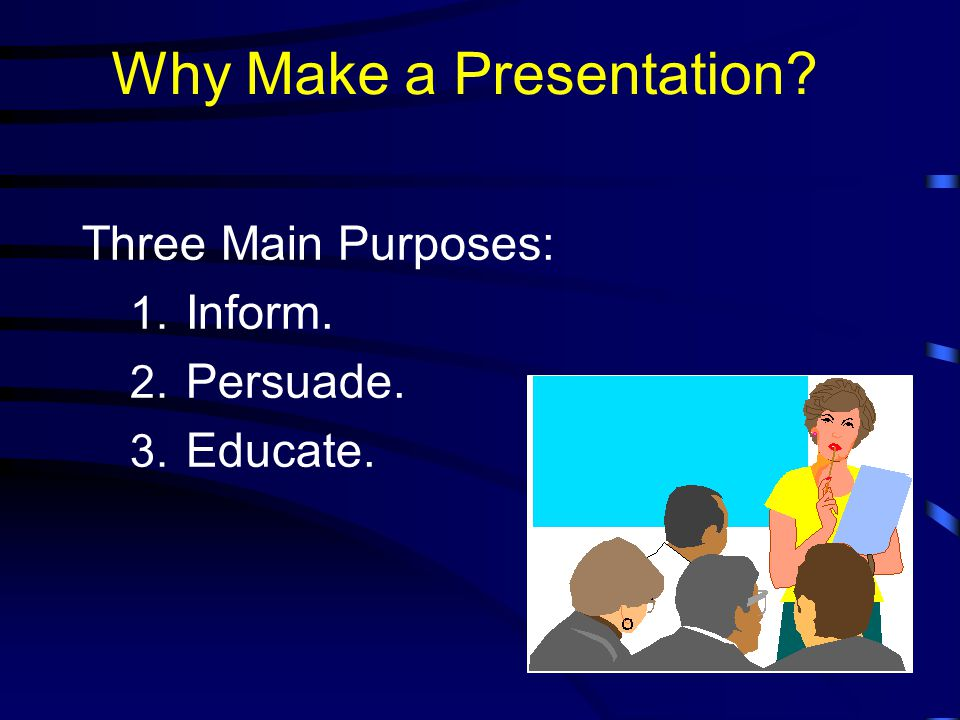 Saying the Presentation  Introduction Tell them what you are going to tell them.