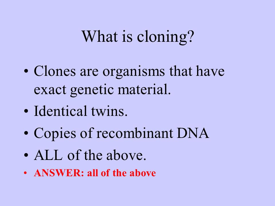 What is cloning. Clones are organisms that have exact genetic material.