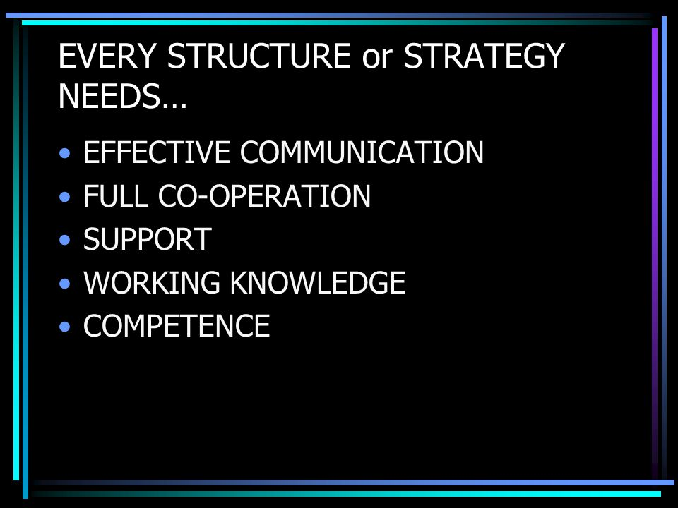 EVERY STRUCTURE or STRATEGY NEEDS… EFFECTIVE COMMUNICATION FULL CO-OPERATION SUPPORT WORKING KNOWLEDGE COMPETENCE