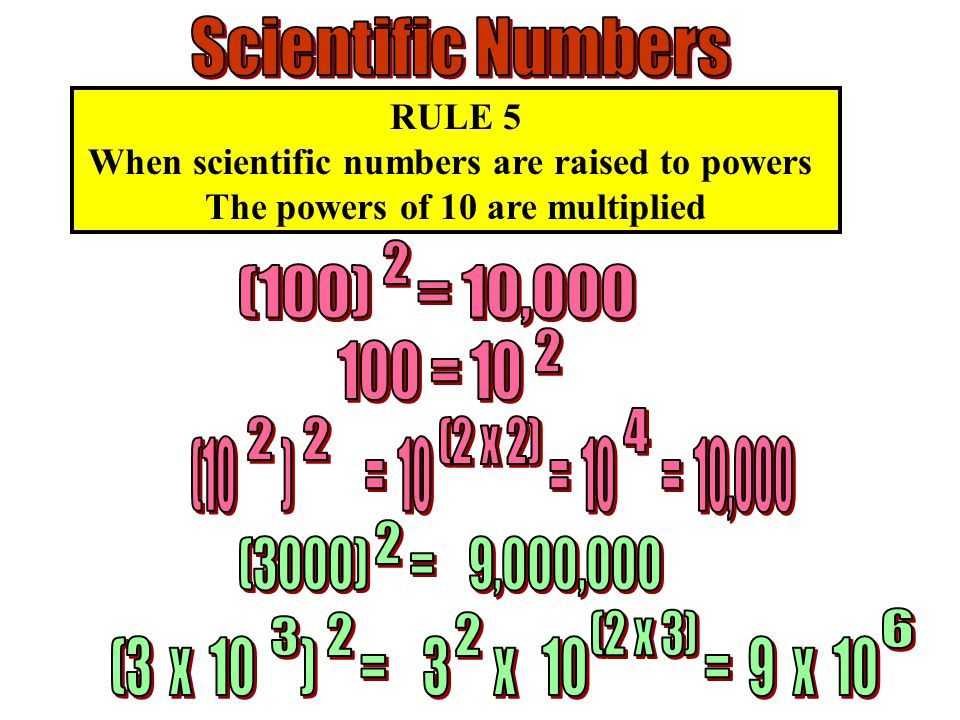 RULE 5 When scientific numbers are raised to powers The powers of 10 are multiplied
